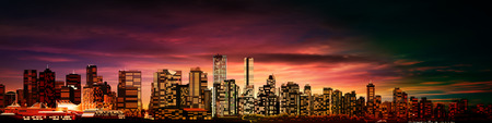 vancouver: abstract purple sunset background with panorama of vancouver Illustration