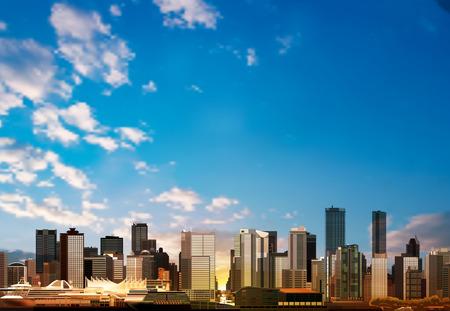 市内のパノラマと抽象的なベクトルの青い空を背景