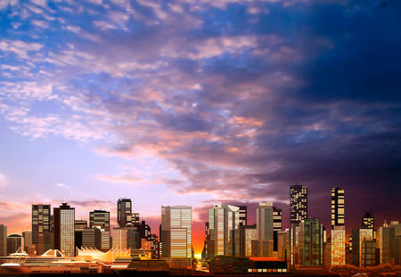 vancouver: abstract vector evening background with panorama of vancouver Illustration