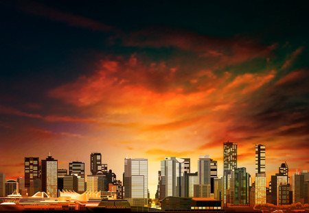 vancouver: abstract vector red sunset background with panorama of vancouver Illustration