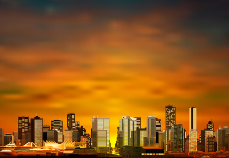 vancouver: abstract vector brown sunset background with panorama of vancouver