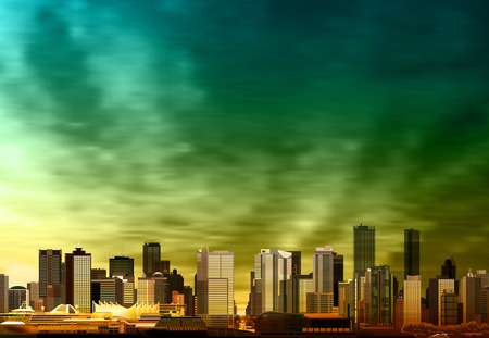 vancouver city: abstract vector green sunset background with panorama of vancouver