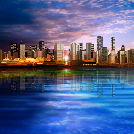 vancouver city: abstract vector sea sunset background with panorama of vancouver