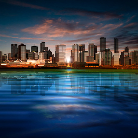 vancouver city: abstract vector sea sunset background with panorama of vancouver and clouds