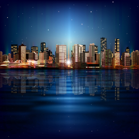 panorama city: abstract vector sea sunset blue background with panorama of city