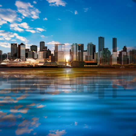 vancouver city: abstract vector blue sky background with panorama of city and white clouds