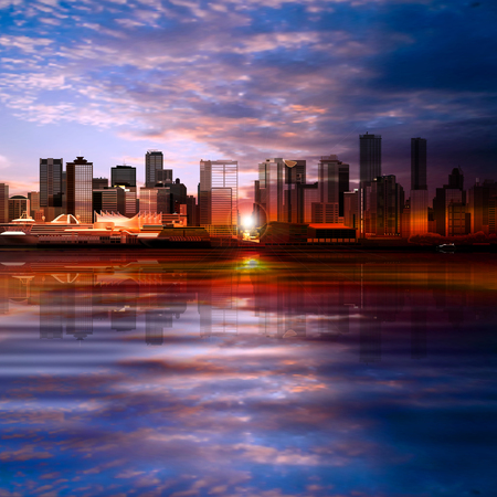 vancouver city: abstract vector evening background with panorama of city