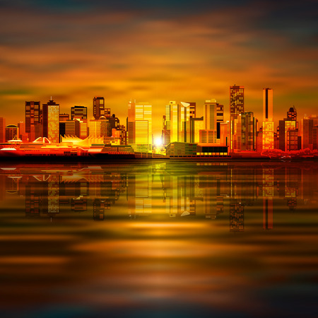 vancouver city: abstract vector brown sunset background with panorama of city Illustration