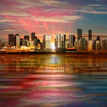 vancouver city: abstract vector background with panorama of city and pink sky