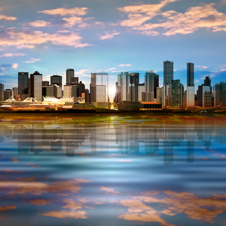 vancouver city: abstract vector background with panorama of city and clouds