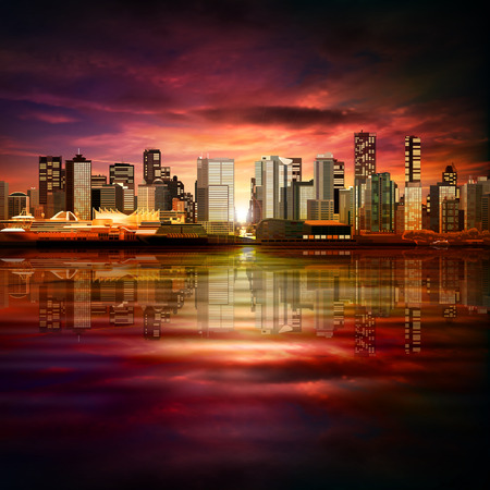 horizon reflection: abstract vector purple sunset background with panorama of city Illustration