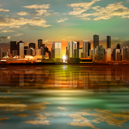 horizon reflection: abstract vector green sunrise background with panorama of vancouver