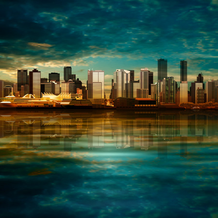 vancouver city: abstract vector background with panorama of city on green Illustration