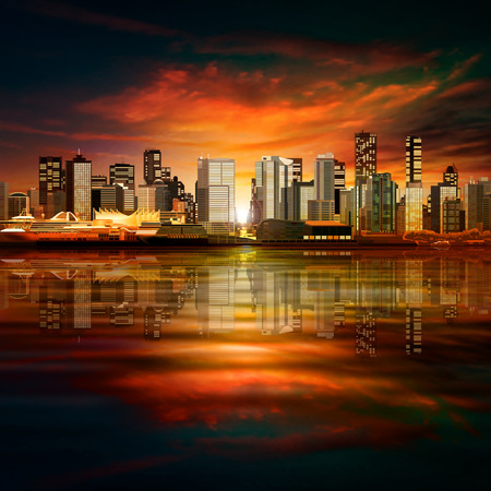 horizon: abstract vector red sunset background with panorama of city Illustration