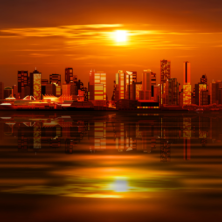 horizon reflection: abstract vector background with panorama of ciity and red sunset Illustration