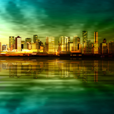 vancouver city: abstract vector green sunset background with panorama of city