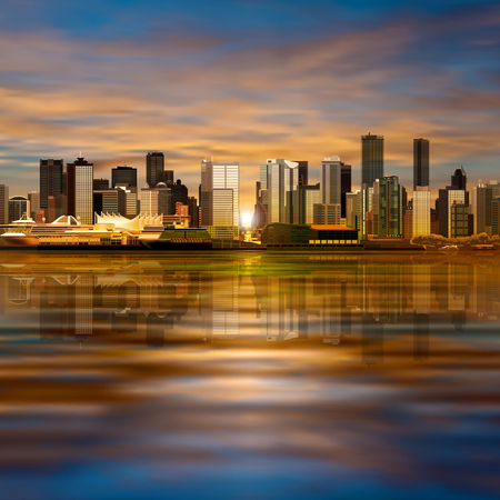 panorama city: abstract vector spring evening illustration with panorama of city