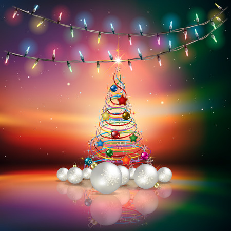 christmas decorations: Abstract background with Christmas lights decorations and tree