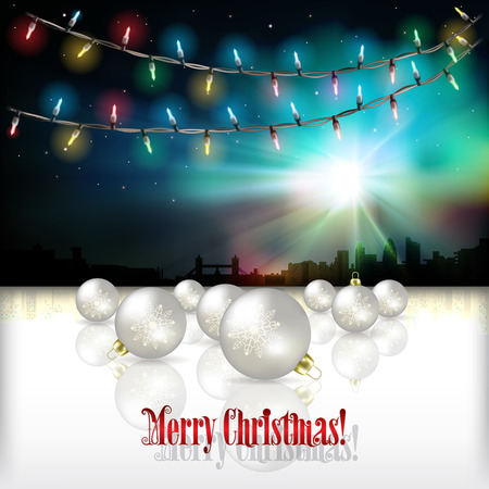 tranquil scene on urban scene: Abstract celebration background with silhouette of London and Christmas lights Illustration