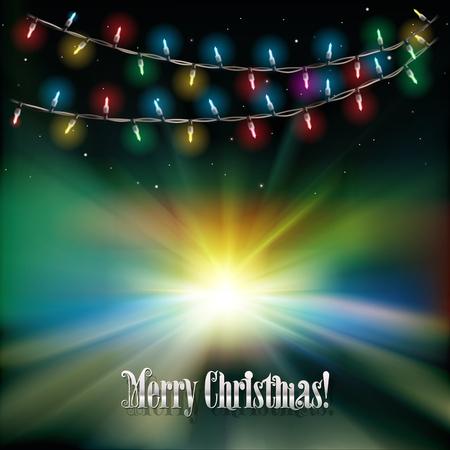 luces navidad: Resumen de fondo la salida del sol verde con las luces de Navidad y las estrellas