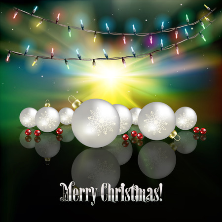 christmas lights: Abstract green sunrise background with Christmas lights and white decorations Illustration