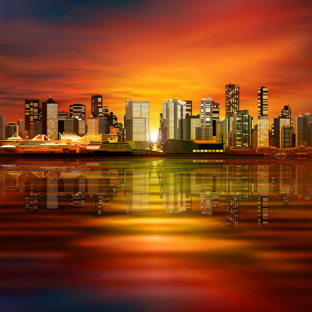 horizon reflection: abstract spring red evening illustration with panorama of city Illustration