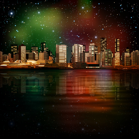 horizon reflection: abstract night stars illustration with panorama of city