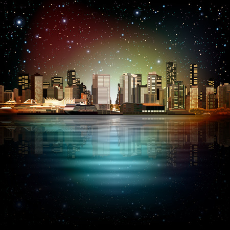 vancouver city: abstract night stars sky illustration with panorama of city Illustration