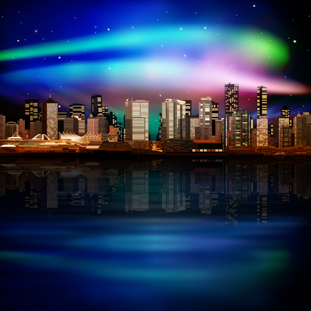 vancouver city: abstract  spring night illustration with panorama of city Illustration