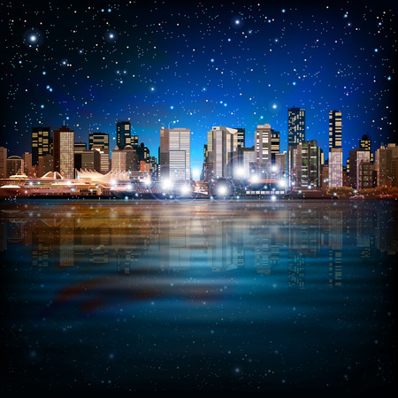 vancouver city: abstract sky stars blue background with panorama of city