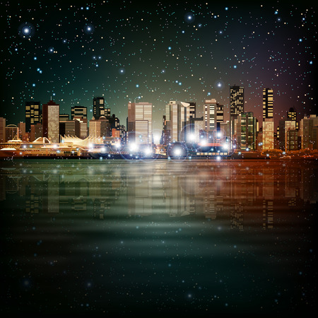 horizon reflection: abstract sky stars background with panorama of city Illustration
