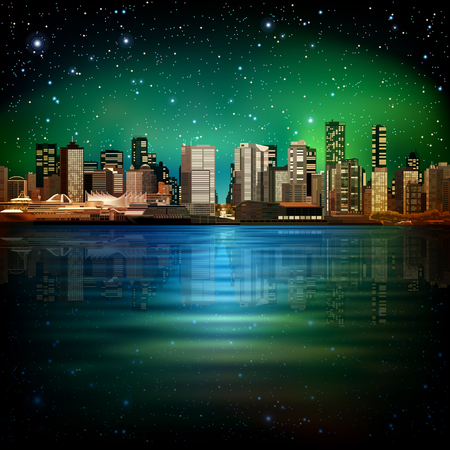 vancouver city: abstract  night green sky illustration with panorama of city Illustration