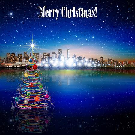 christmas tree illustration: Abstract stars illustration with panorama of city and Christmas tree