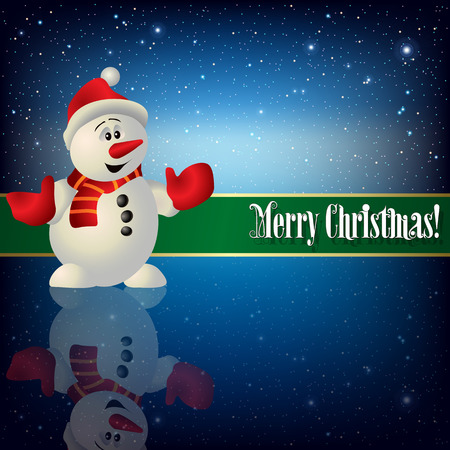 color image: celebration greeting with snowman and snowflakes on blue background