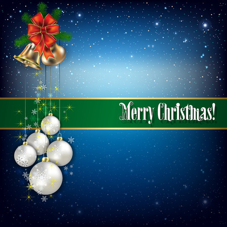 hand bells: Christmas greeting with hand bells and snowflakes on blue background