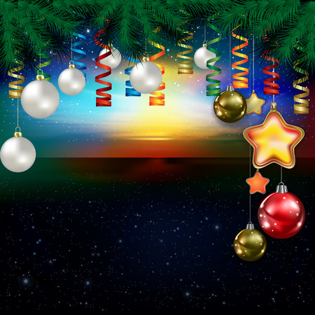 pine branch: Abstract stars celebration illustration with pine branch and Christmas decoration