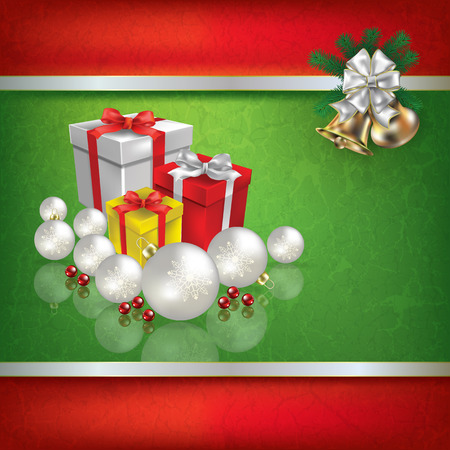 holiday gifts: Abstract grunge green background with Christmas gifts decorations and hand bells Illustration
