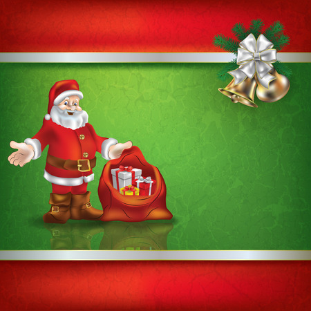 hand bells: Abstract grunge background with Santa Claus and hand bells