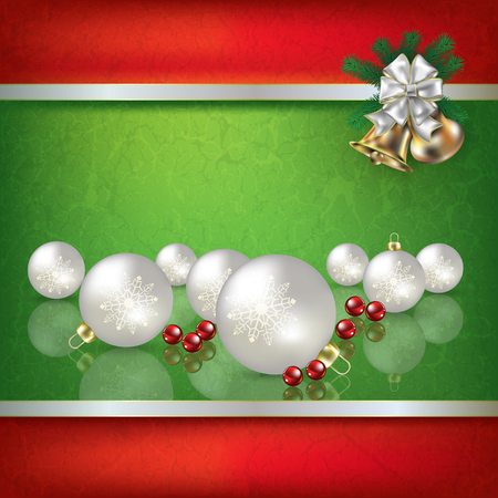 christmas fire: Abstract grunge green background with white Christmas decorations and hand bells