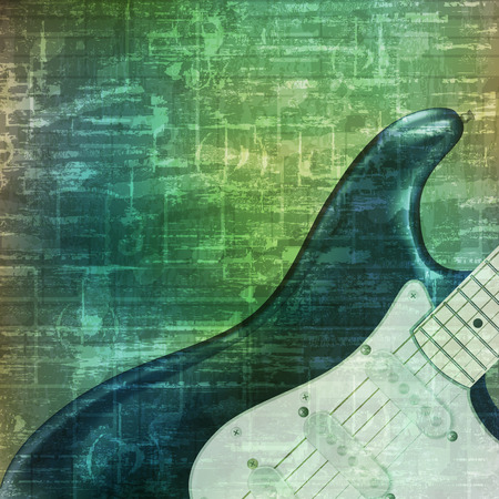 loudly: abstract music grunge vintage sound background electric guitar vector illustration