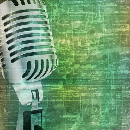 abstract music grunge vintage background with retro microphone vector illustration