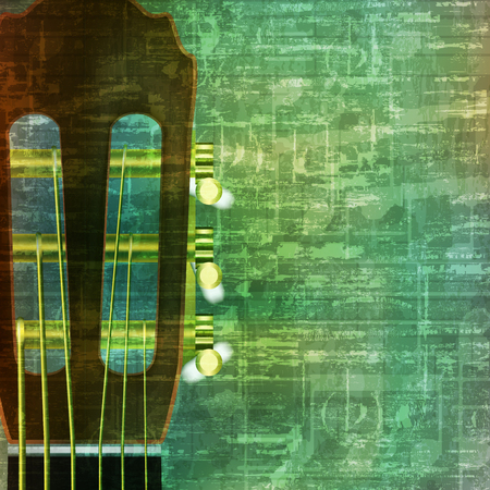 loudly: abstract music grunge vintage background with acoustic guitar vector illustration Illustration
