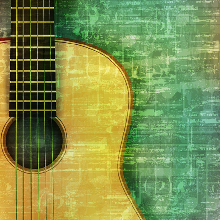 abstract music: abstract music grunge green vintage background acoustic guitar vector illustration