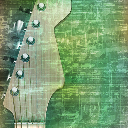 abstract music: abstract music grunge vintage background with electric guitar vector illustration Illustration