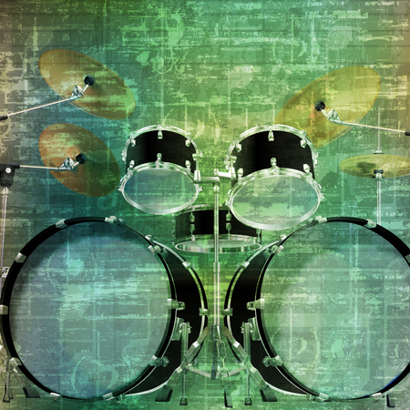 abstract music grunge vintage sound background drum kit vector illustration Illustration
