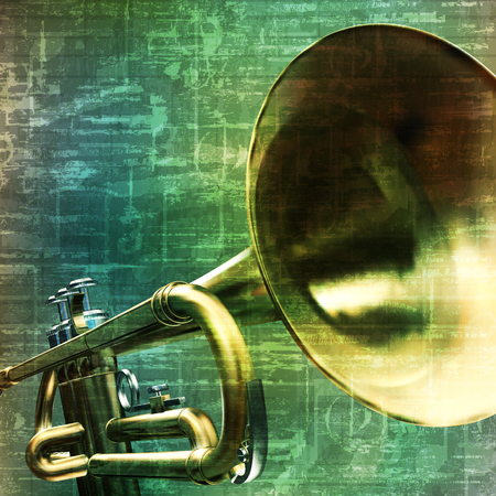 loudly: abstract music grunge vintage background trumpet vector illustration Illustration