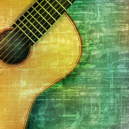 �illustration: m�sica abstracta grunge fondo vintage guitarra ac�stica ilustraci�n vectorial