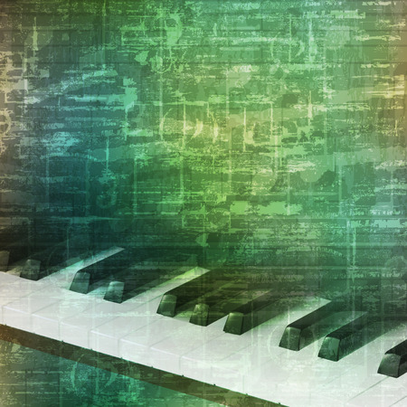 abstract music grunge vintage background with piano keys vector illustration Illustration