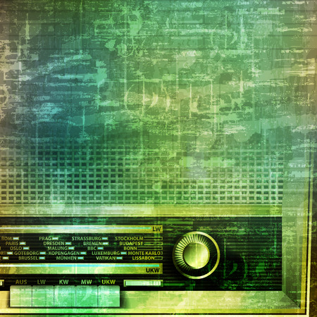 abstract music grunge vintage background with retro radio vector illustration