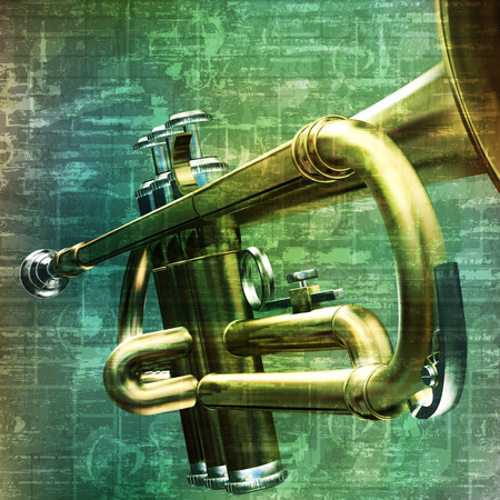 abstract music grunge vintage background with trumpet vector illustration